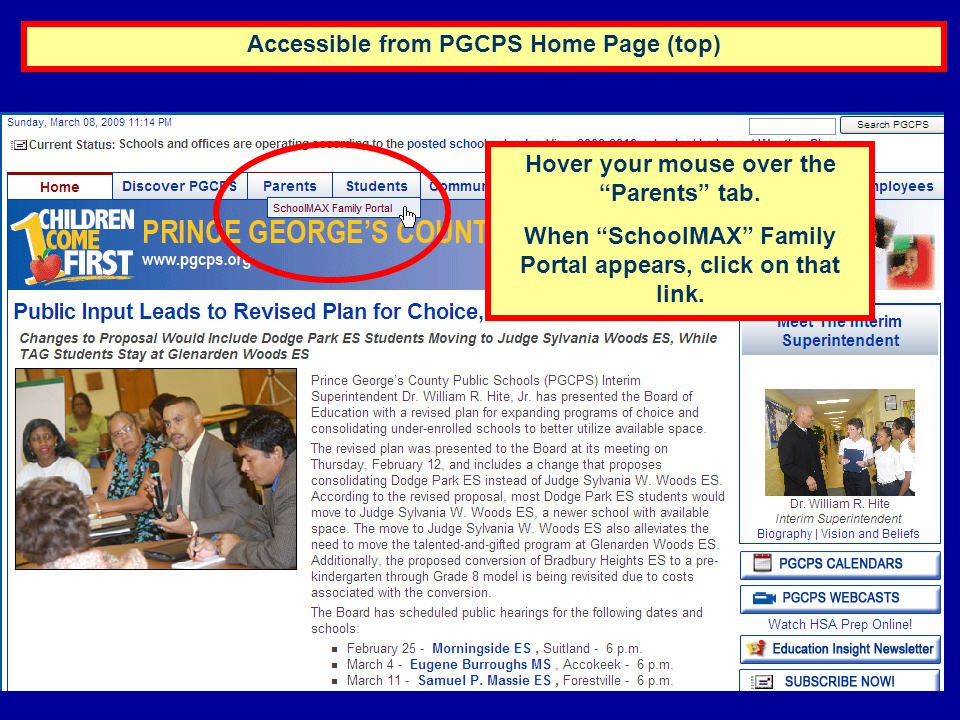 Accessible from PGCPS Home Page (top)