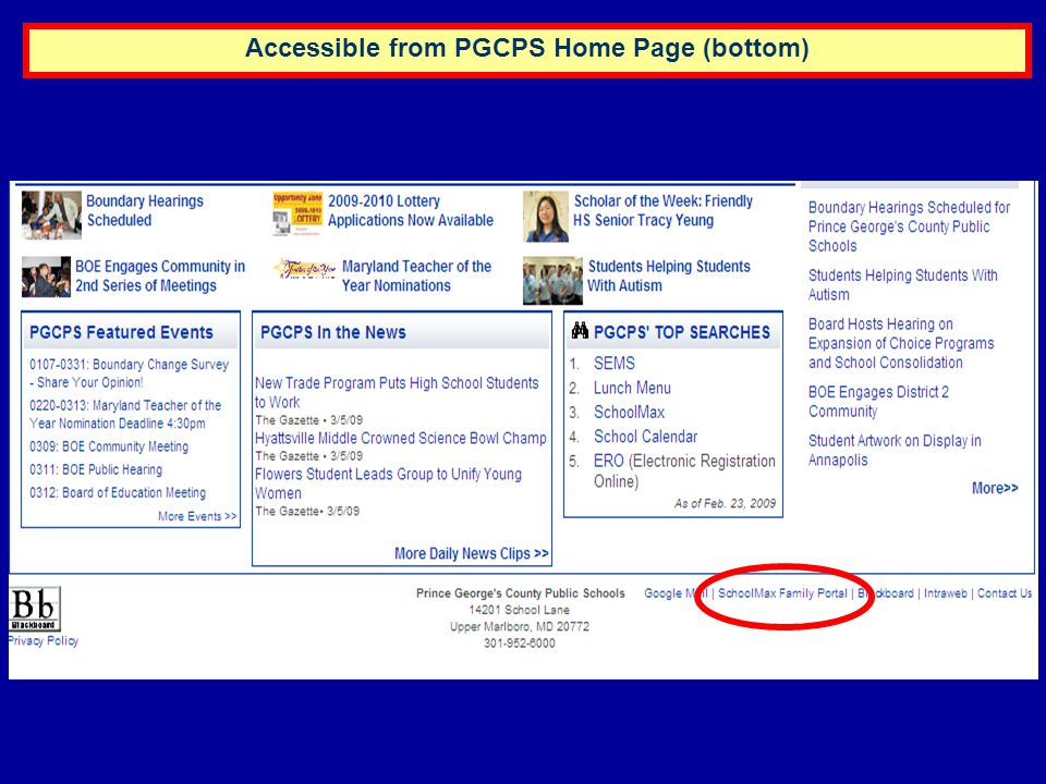 Accessible from PGCPS Home Page (bottom)