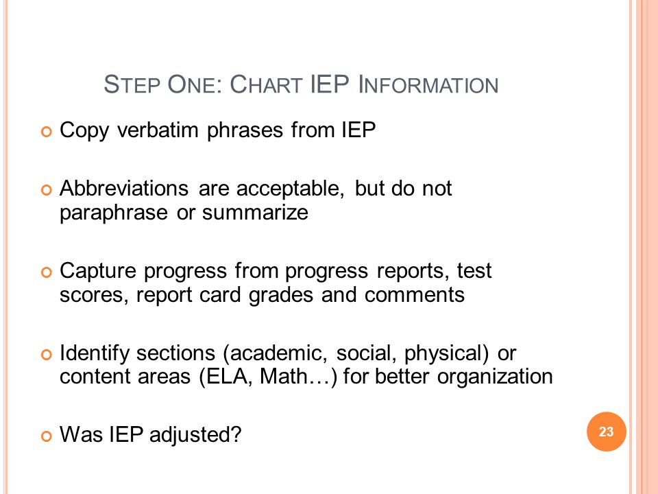 Step One: Chart IEP Information