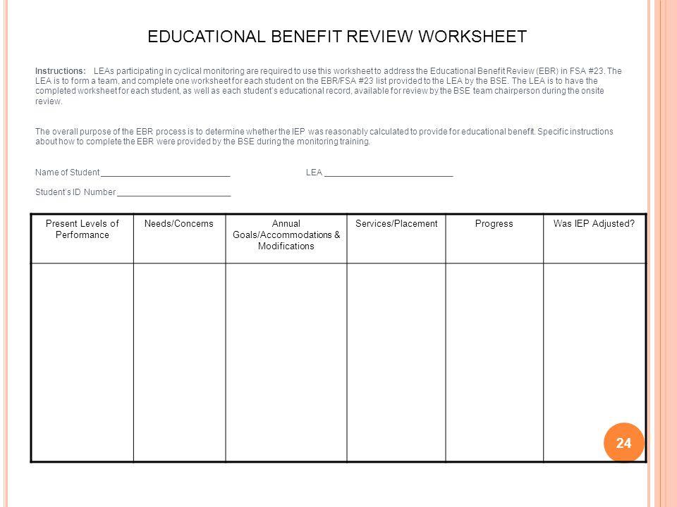 EDUCATIONAL BENEFIT REVIEW WORKSHEET
