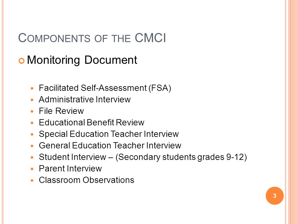 Components of the CMCI Monitoring Document