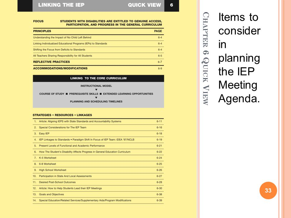 Items to consider in planning the IEP Meeting Agenda.
