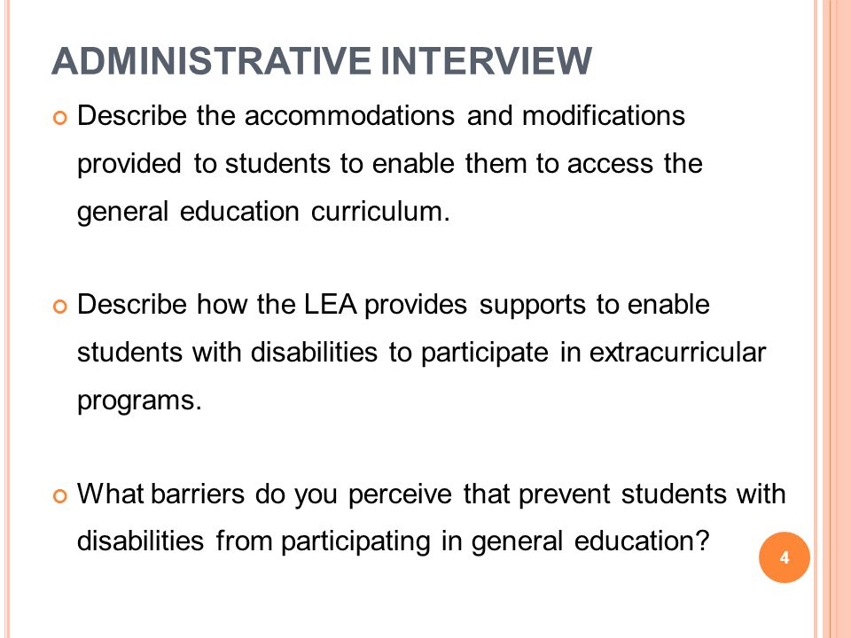 ADMINISTRATIVE INTERVIEW