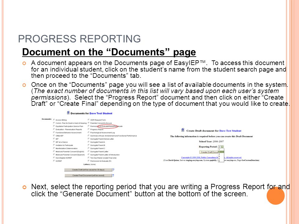 PROGRESS REPORTING Document on the Documents page