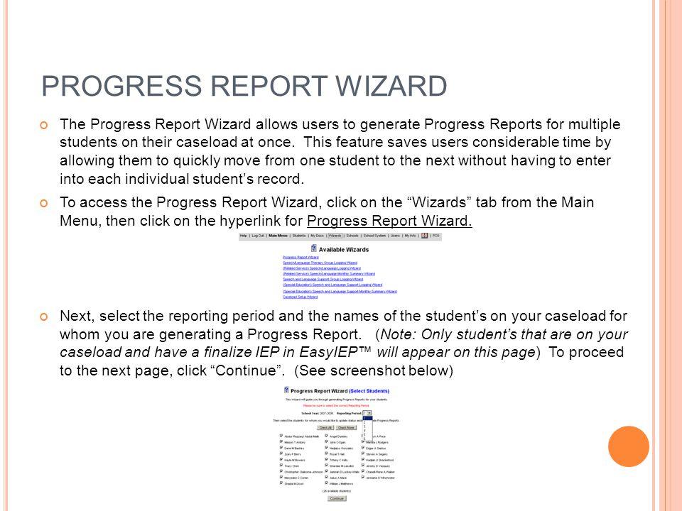 PROGRESS REPORT WIZARD