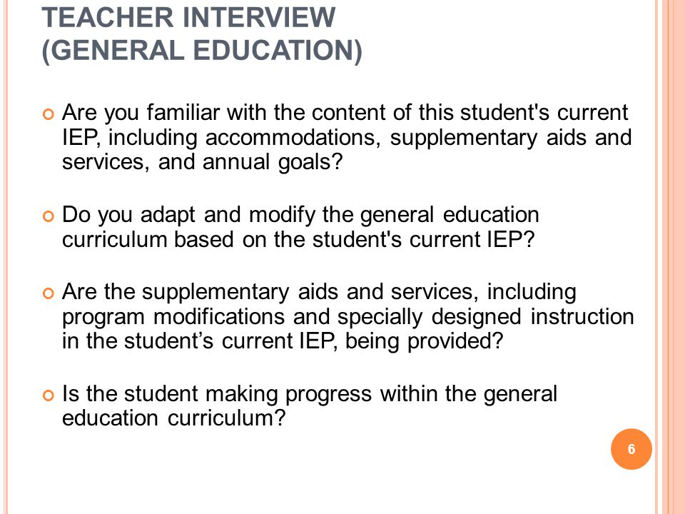 TEACHER INTERVIEW (GENERAL EDUCATION)