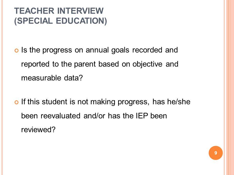 TEACHER INTERVIEW (SPECIAL EDUCATION)