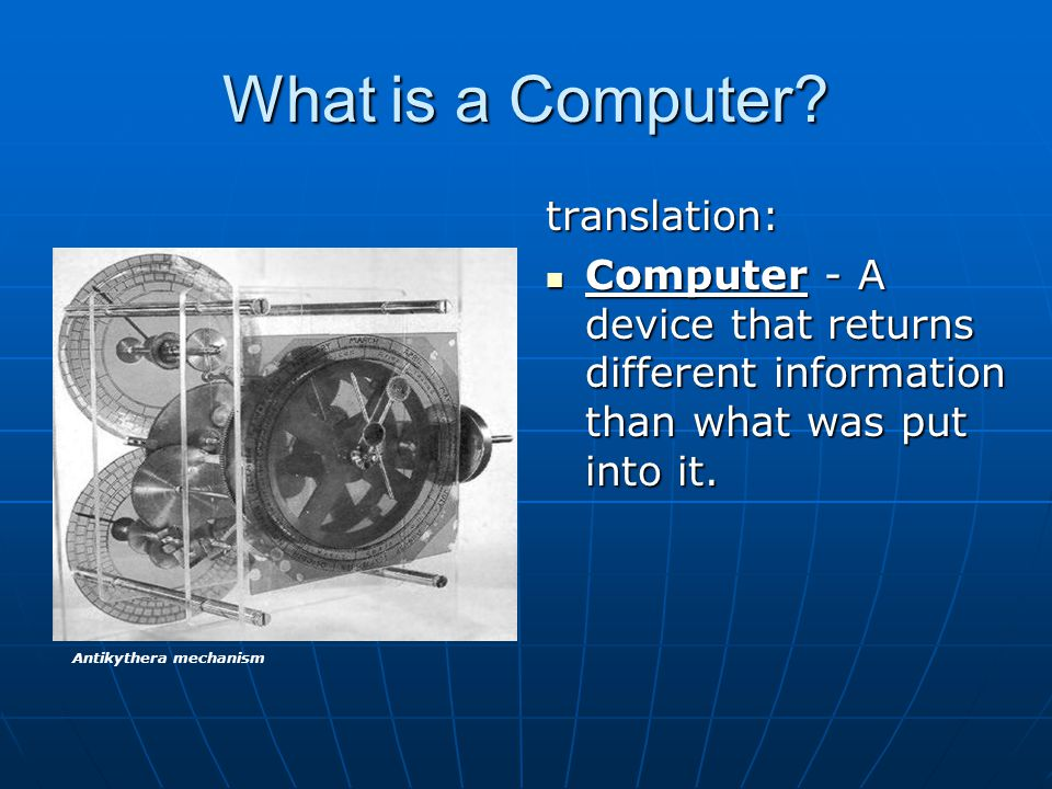What is a Computer translation: