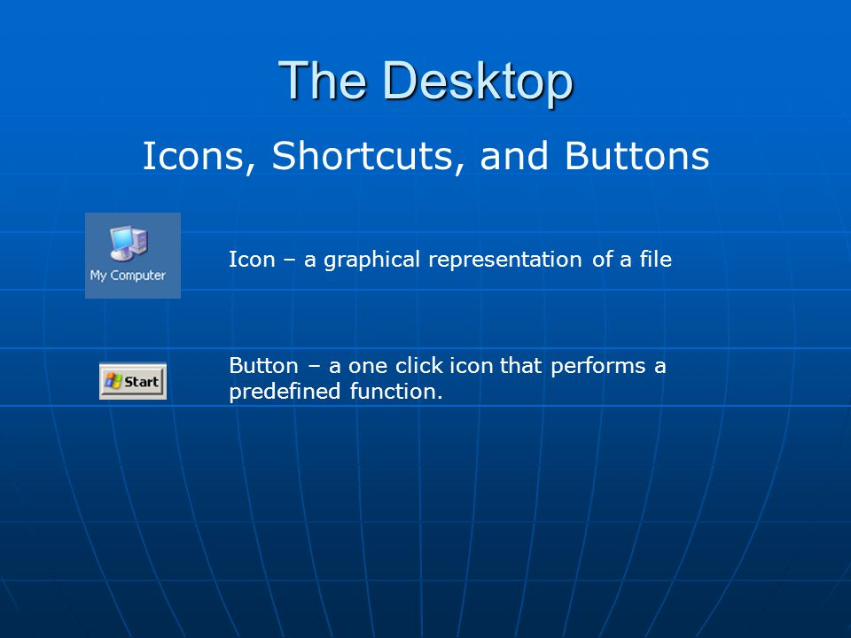Icons, Shortcuts, and Buttons