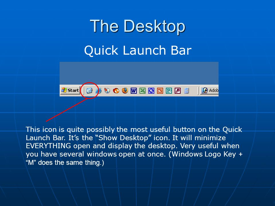 The Desktop Quick Launch Bar