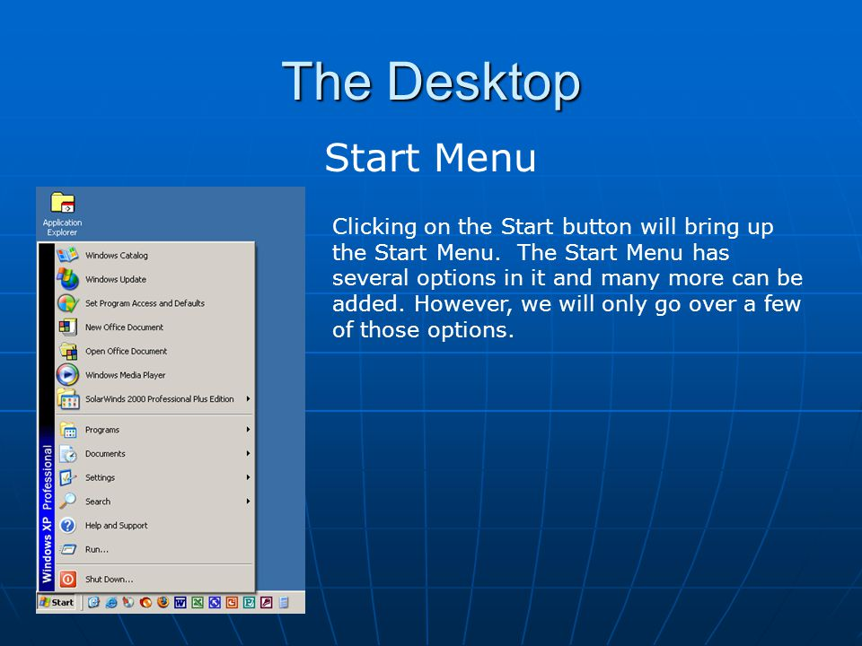 The Desktop Start Menu.