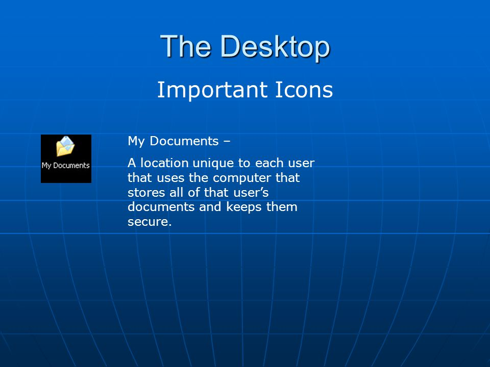 The Desktop Important Icons My Documents –