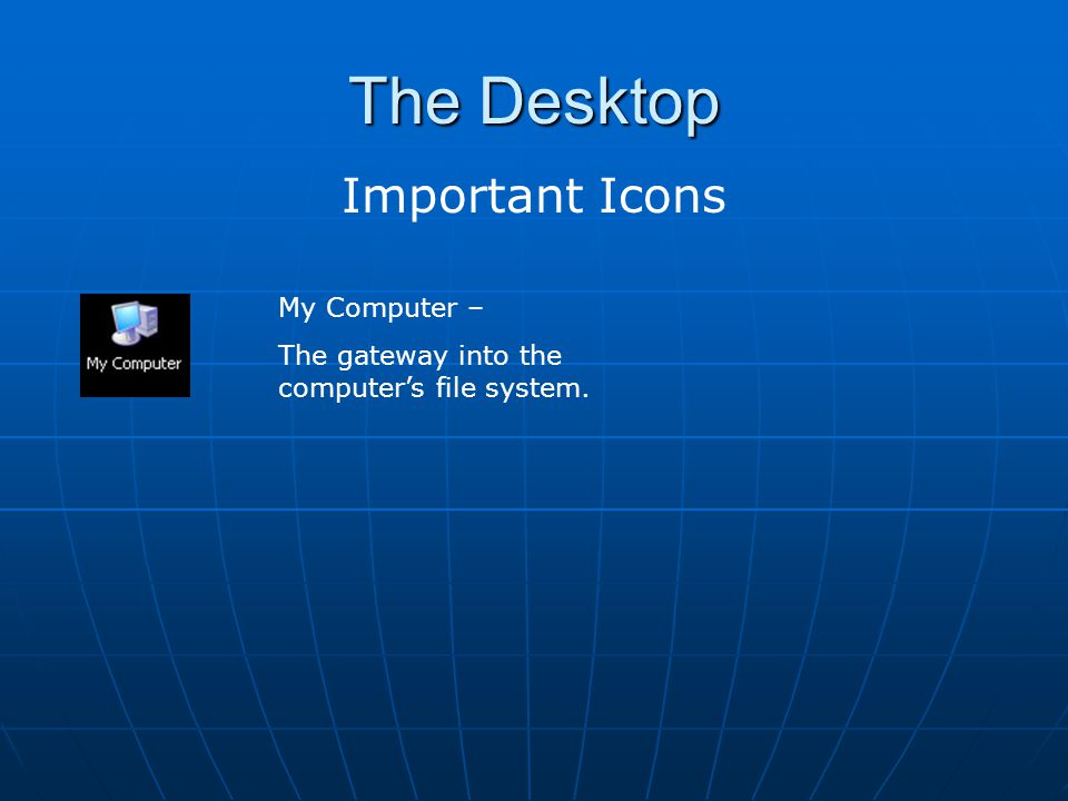 The Desktop Important Icons My Computer –