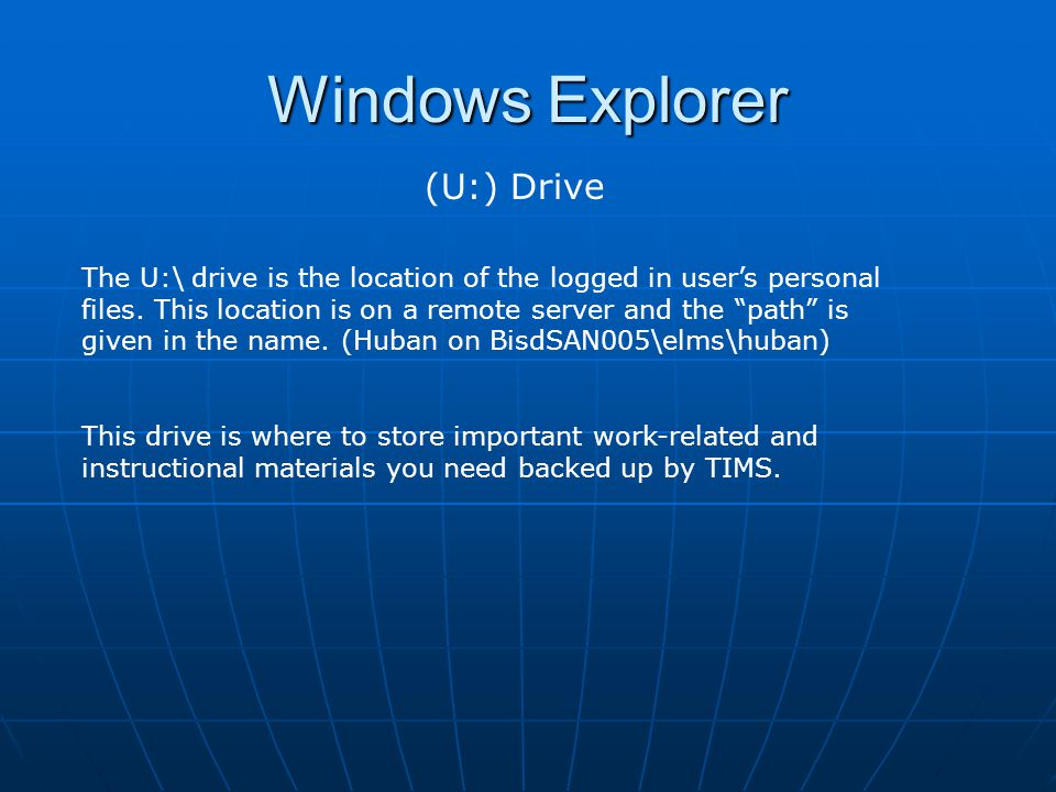 Windows Explorer (U:) Drive