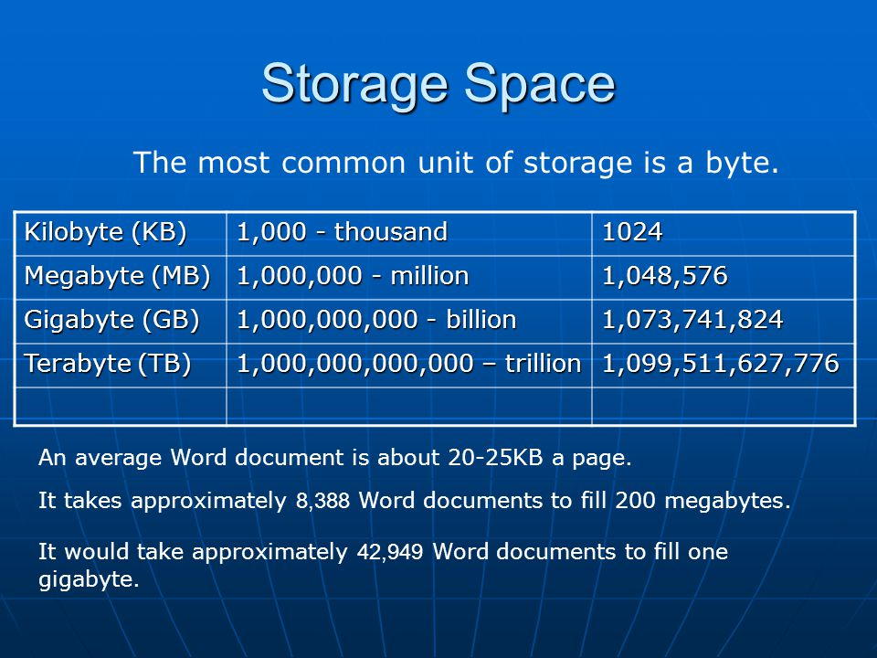 The most common unit of storage is a byte.