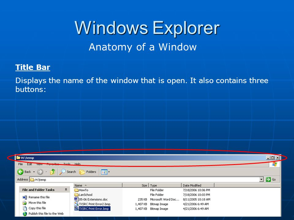 Windows Explorer Anatomy of a Window Title Bar
