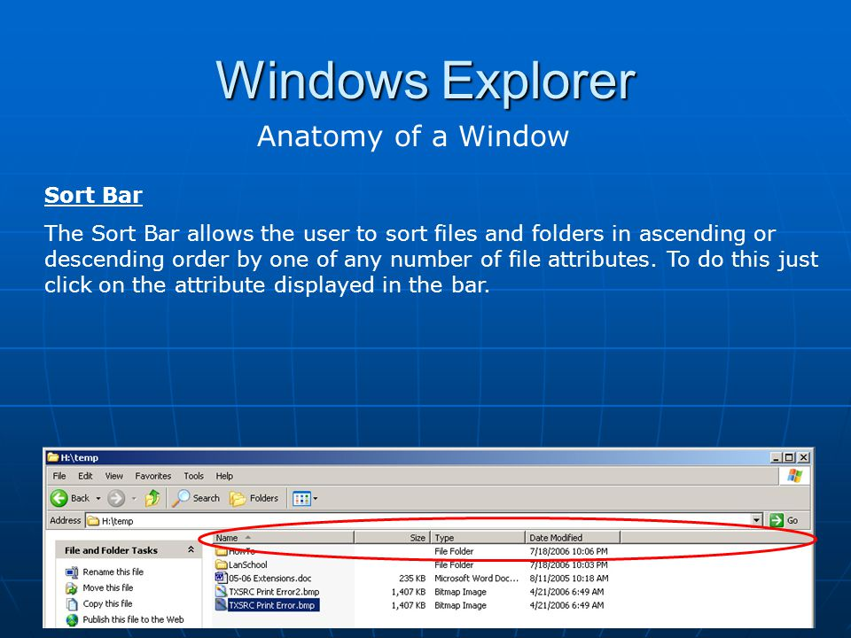 Windows Explorer Anatomy of a Window Sort Bar