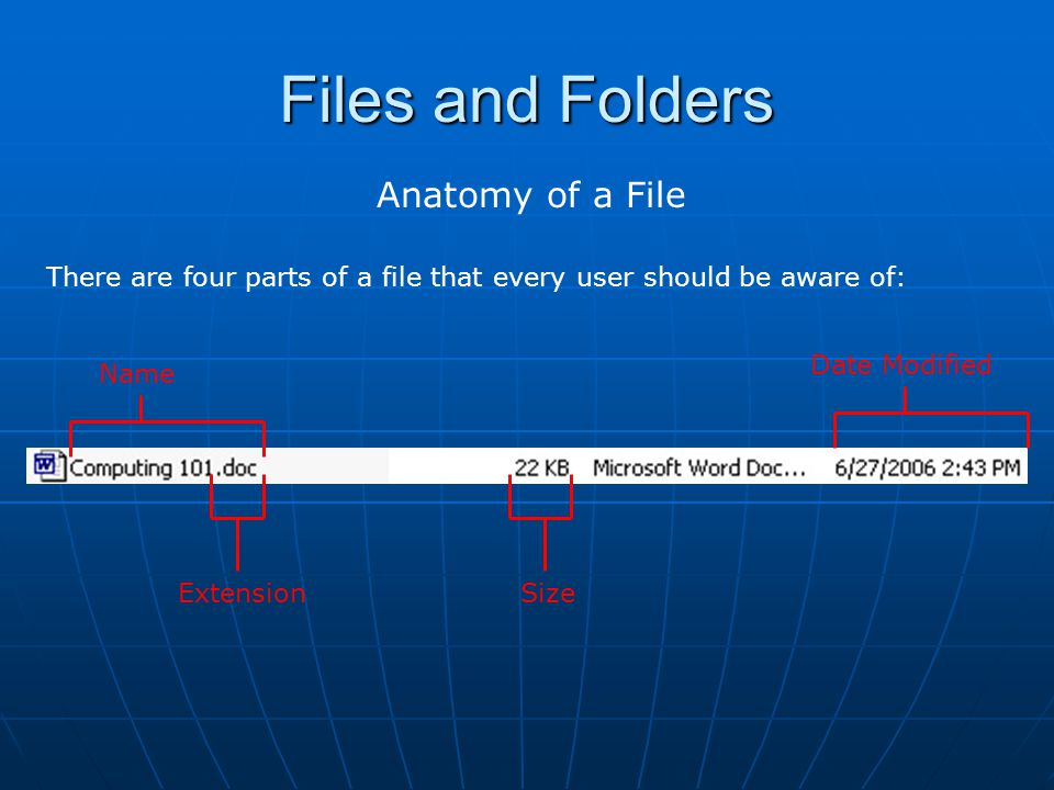 Files and Folders Anatomy of a File