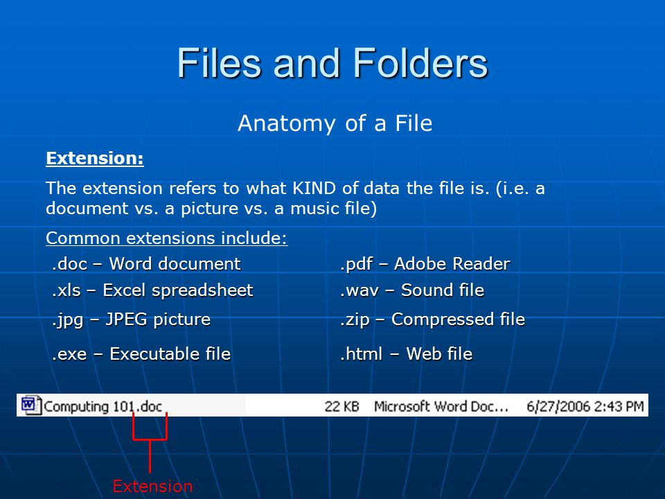 Files and Folders Anatomy of a File Extension: