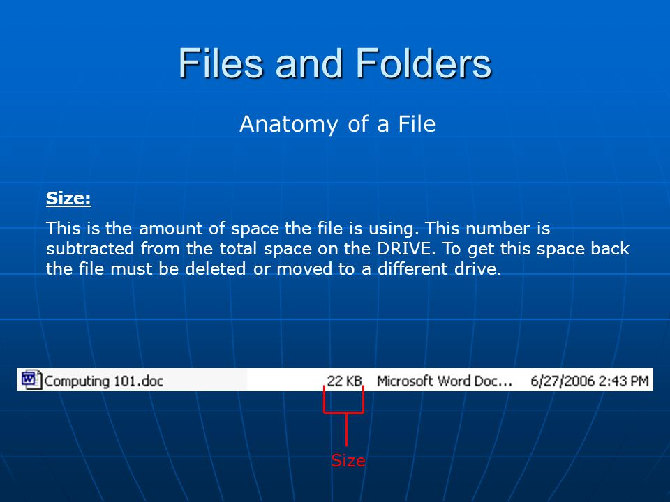 Files and Folders Anatomy of a File Size: