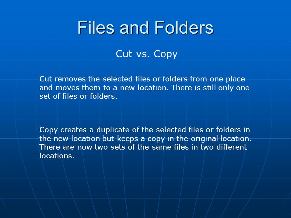 Files and Folders Cut vs. Copy