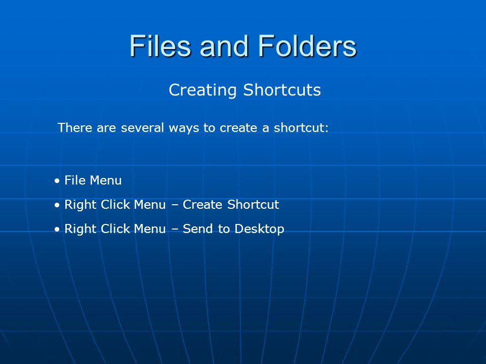 Files and Folders Creating Shortcuts