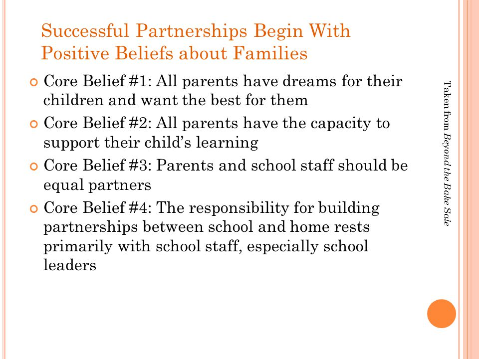 Successful Partnerships Begin With Positive Beliefs about Families