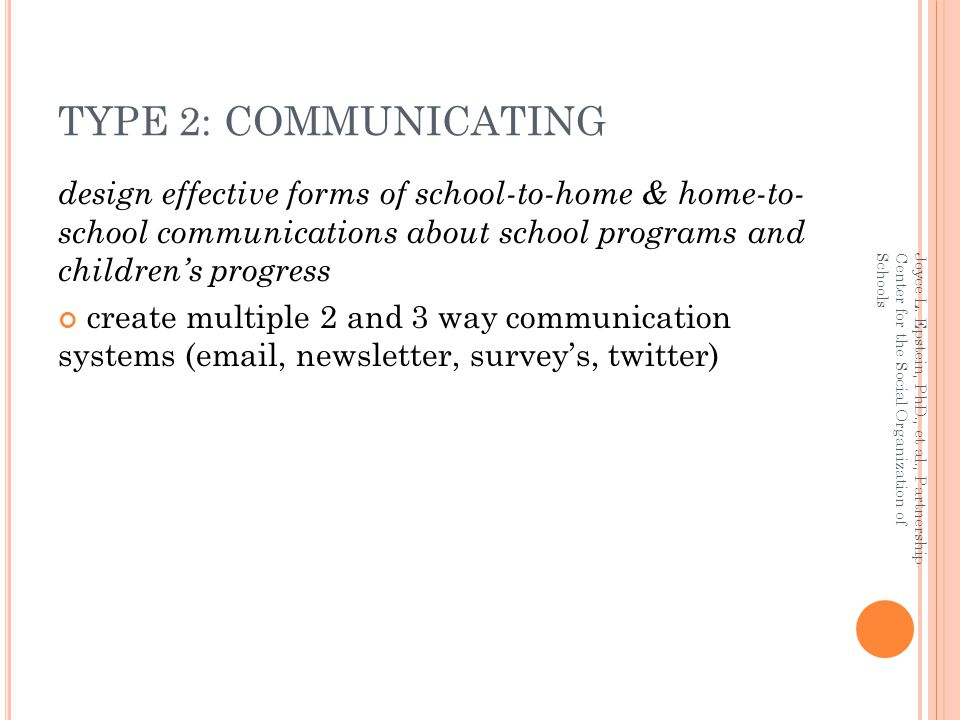 TYPE 2: COMMUNICATING design effective forms of school-to-home & home-to- school communications about school programs and children's progress.