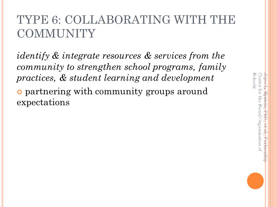 TYPE 6: COLLABORATING WITH THE COMMUNITY