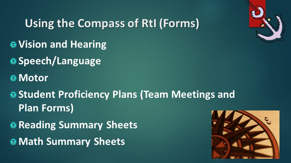 Using the Compass of RtI (Forms)