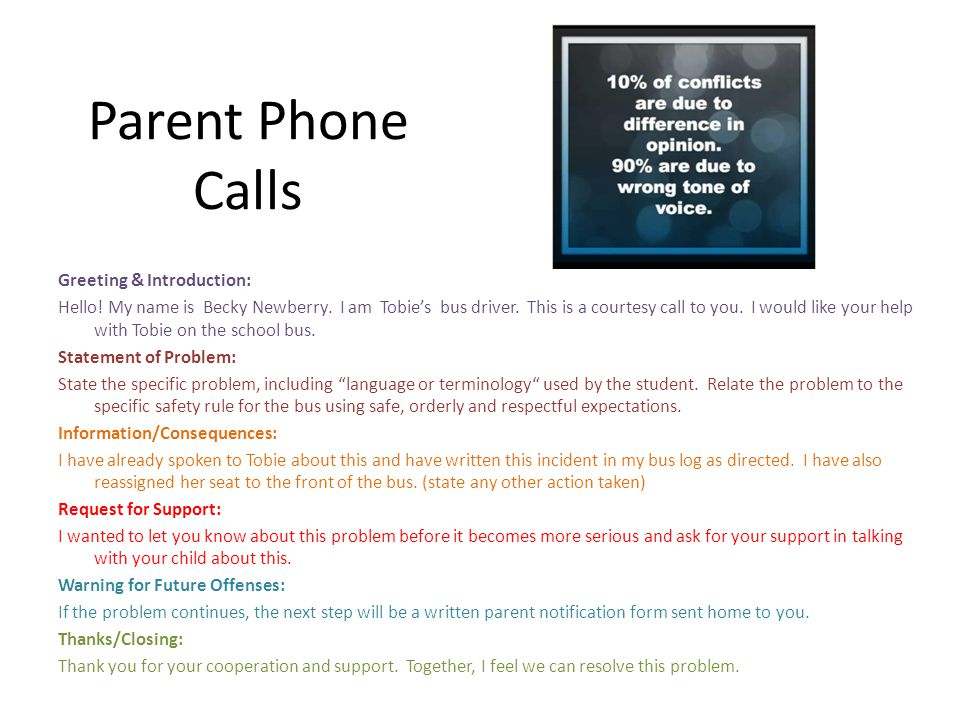 Parent Phone Calls