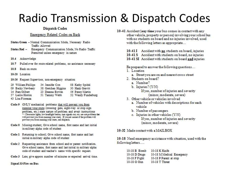 Radio Transmission & Dispatch Codes