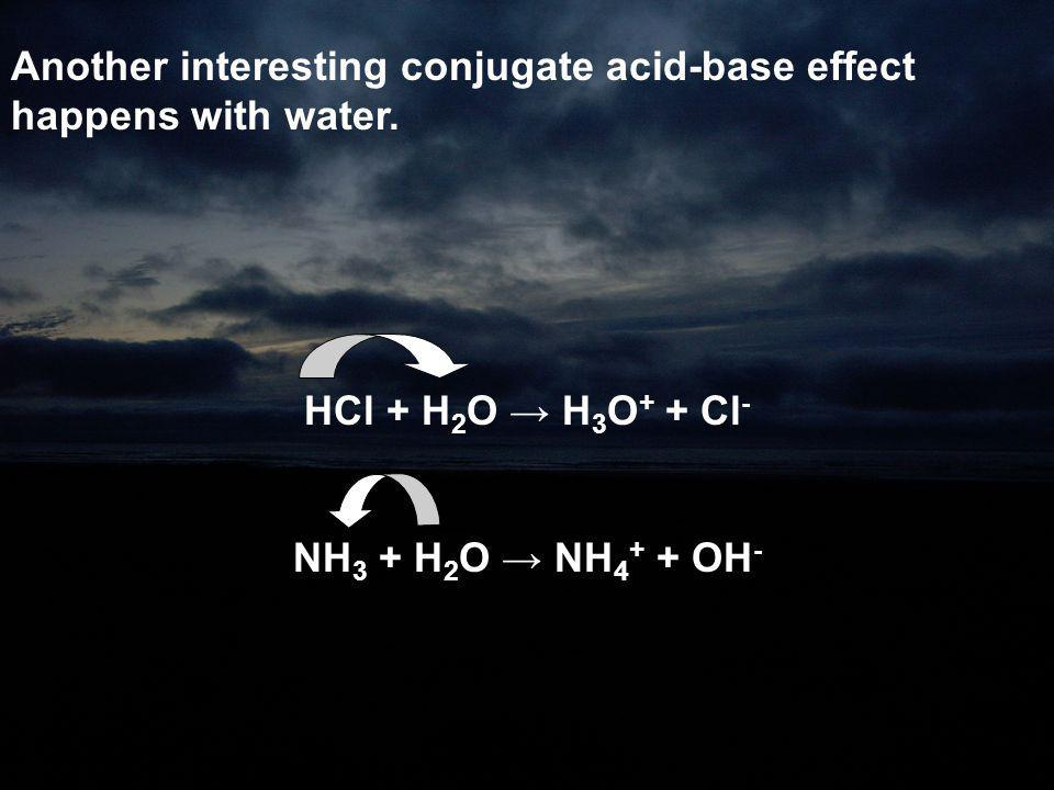 Another interesting conjugate acid-base effect happens with water.