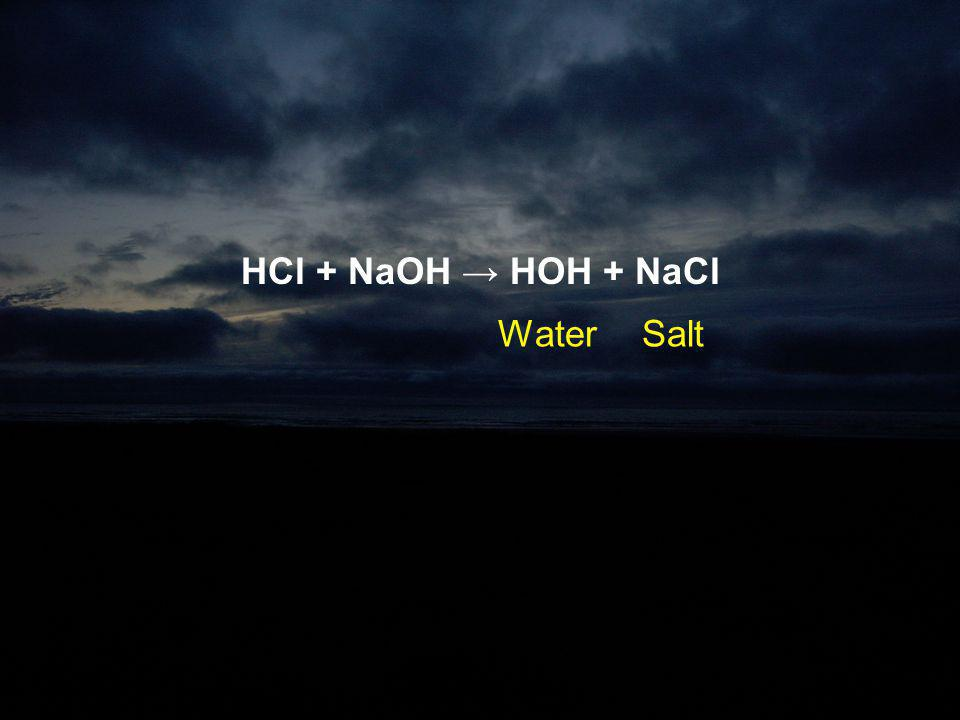 HCl + NaOH → HOH + NaCl Water Salt