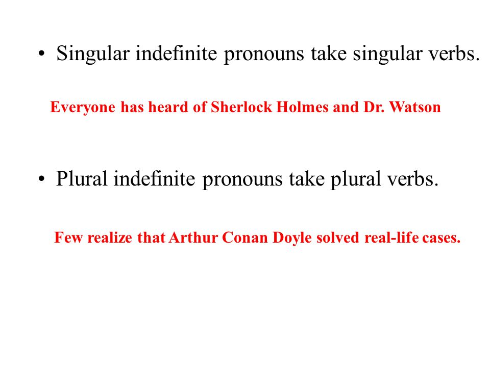 Singular indefinite pronouns take singular verbs.