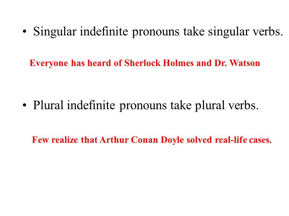 Singular indefinite pronouns take singular verbs.