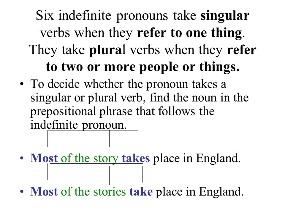 Six indefinite pronouns take singular verbs when they refer to one thing. They take plural verbs when they refer to two or more people or things.
