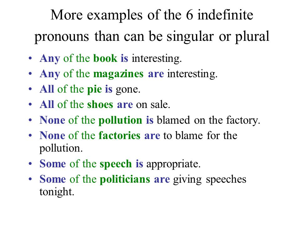 More examples of the 6 indefinite pronouns than can be singular or plural