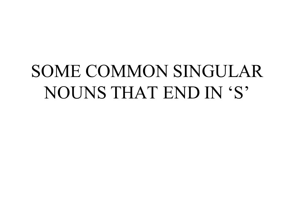 SOME COMMON SINGULAR NOUNS THAT END IN 'S'