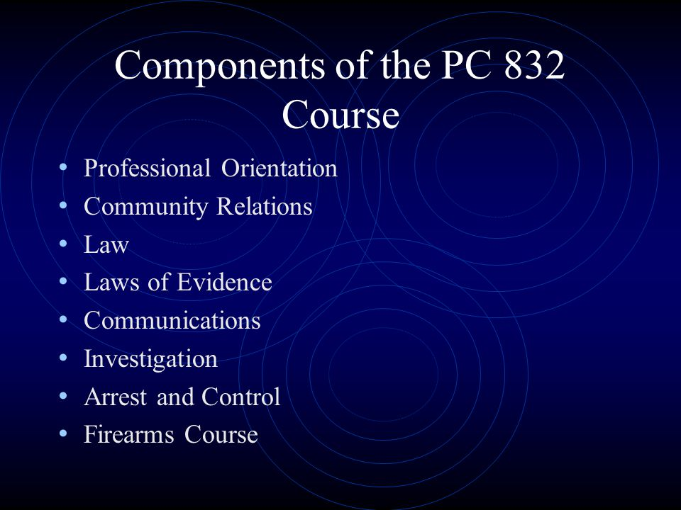 Components of the PC 832 Course