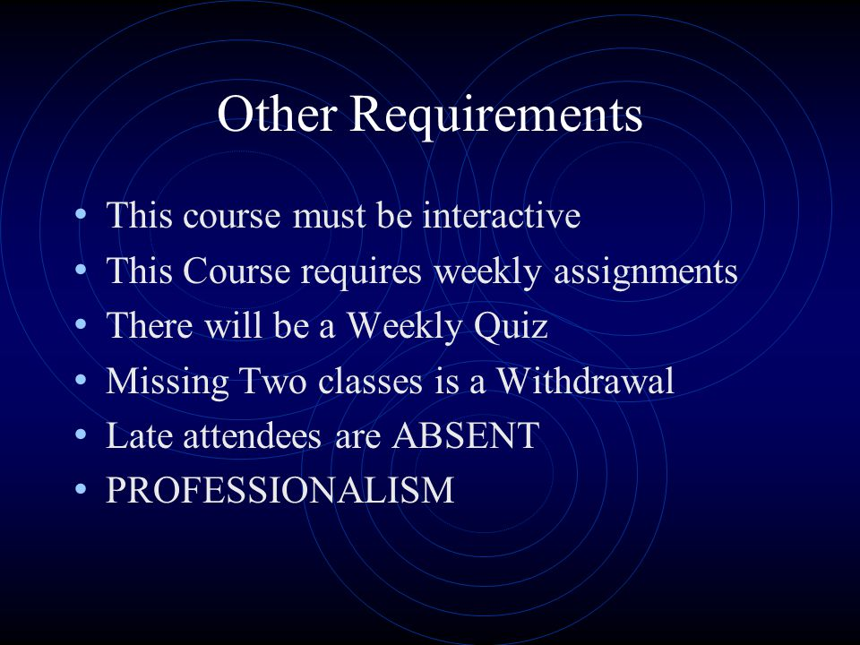 Other Requirements This course must be interactive