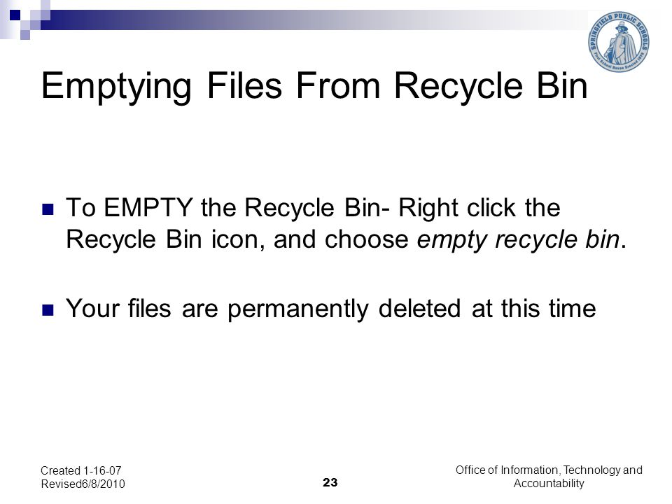 Emptying Files From Recycle Bin