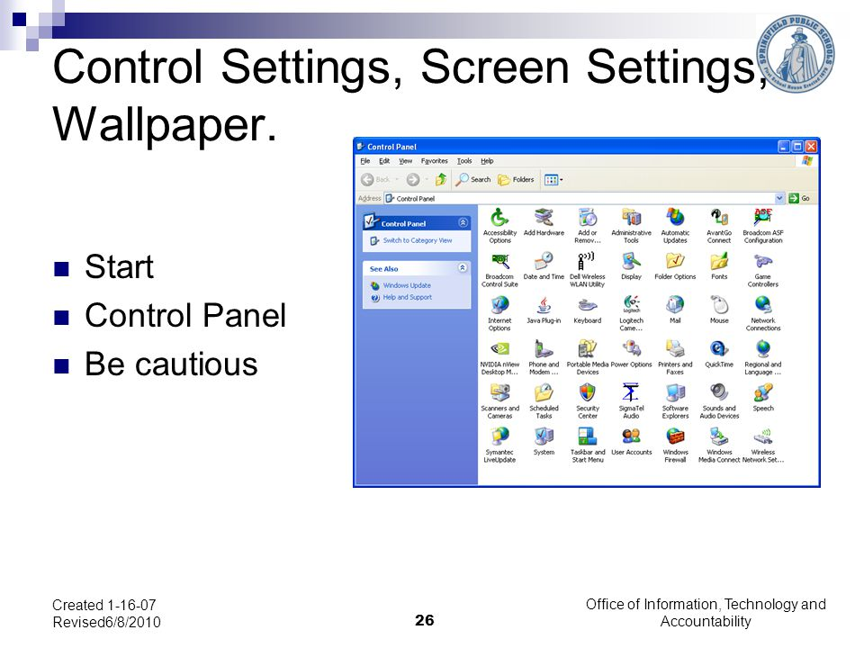Control Settings, Screen Settings, Wallpaper.