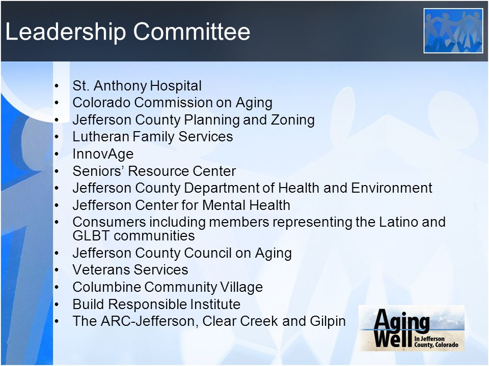 Leadership Committee St. Anthony Hospital Colorado Commission on Aging