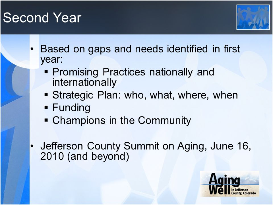 Second Year Based on gaps and needs identified in first year: