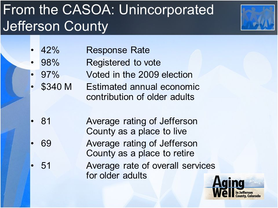 From the CASOA: Unincorporated Jefferson County