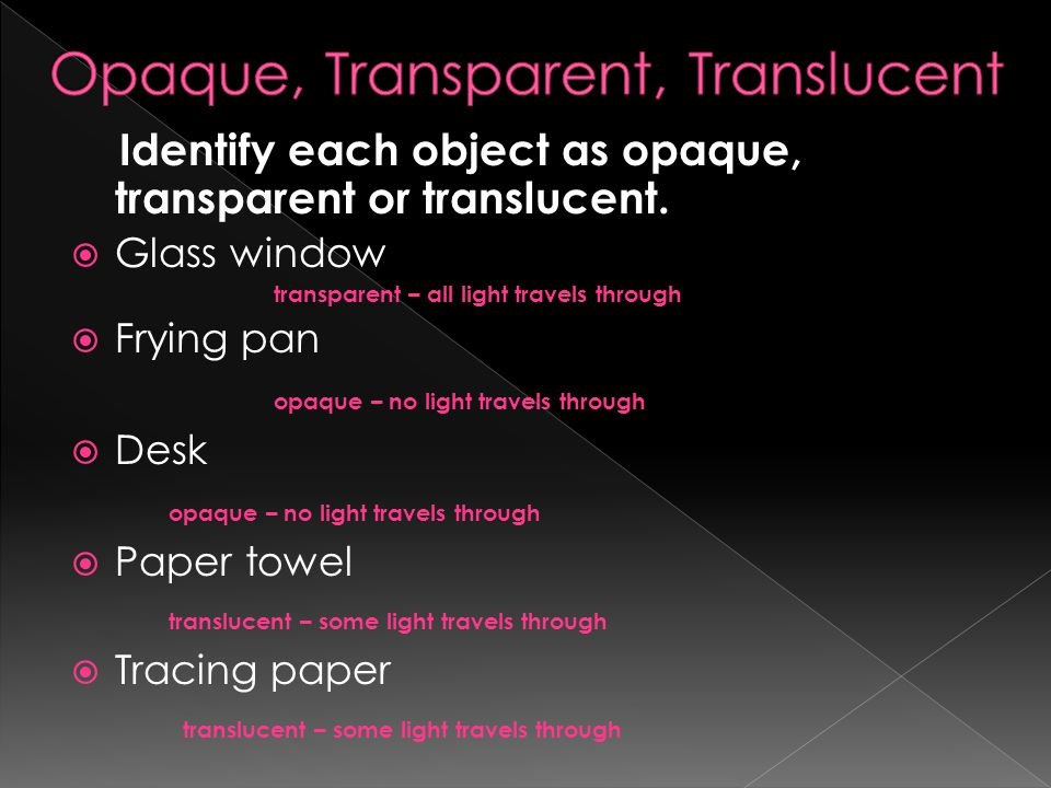 Opaque, Transparent, Translucent