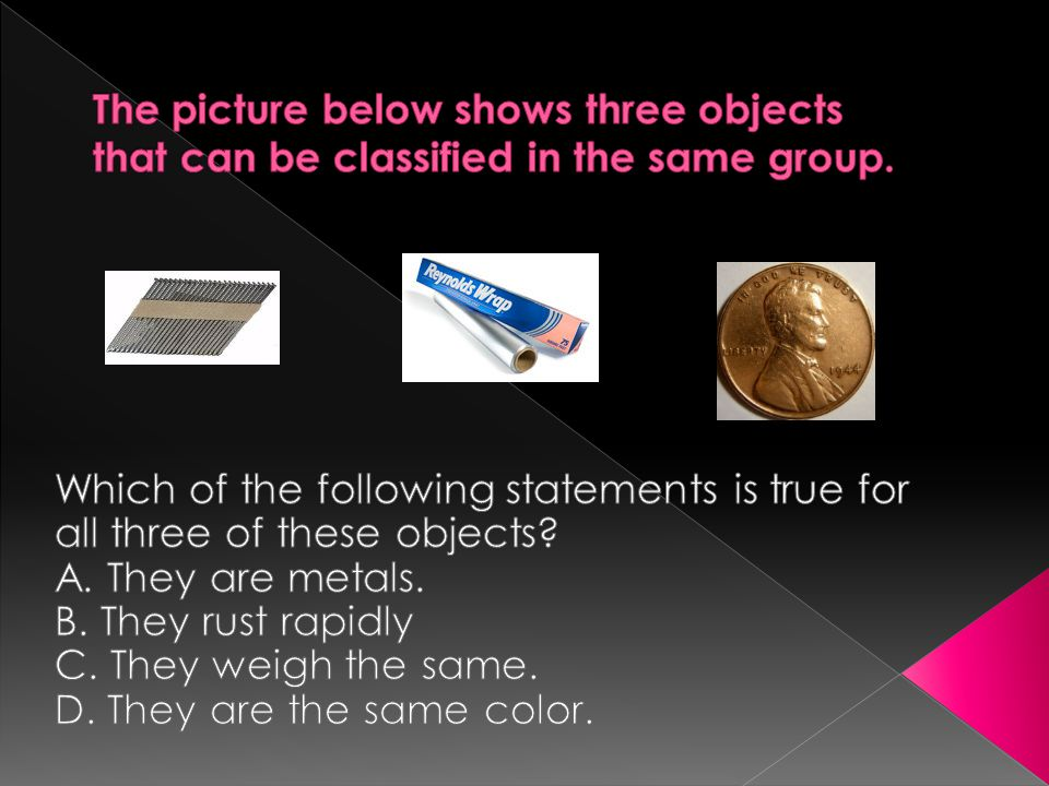 The picture below shows three objects that can be classified in the same group.