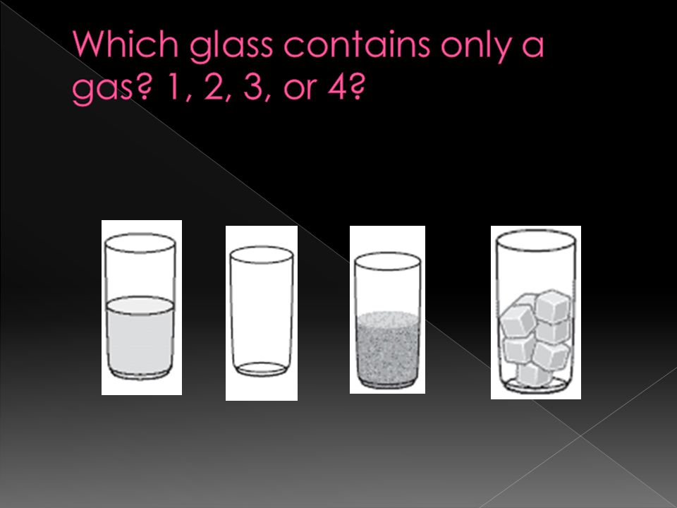 Which glass contains only a gas 1, 2, 3, or 4