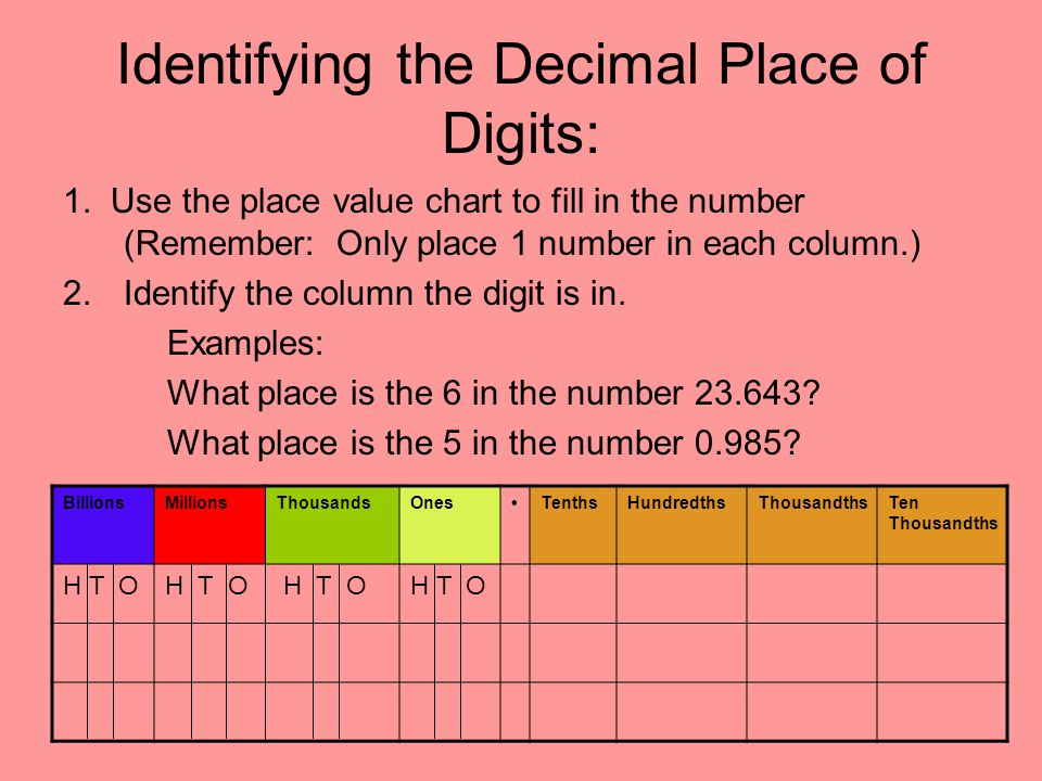 Decimal Place Value Unit 1: Lesson Ppt Video Online Download